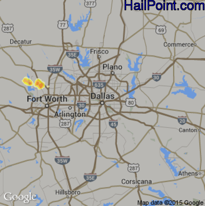 Hail Map for Dallas, TX Region on May 11, 2012