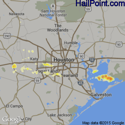 Hail Map for Houston, TX Region on May 11, 2012