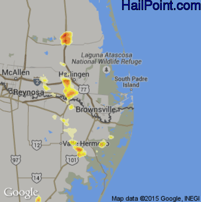 Hail Map for Brownsville, TX Region on May 12, 2012