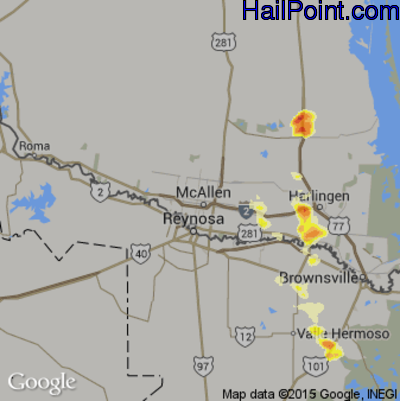 Hail Map for McAllen, TX Region on May 12, 2012