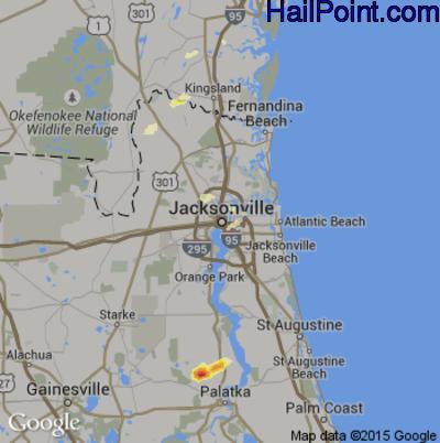 Hail Map for Jacksonville, FL Region on May 14, 2012