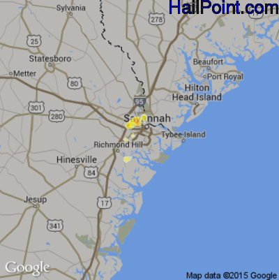 Hail Map for Savannah, GA Region on May 15, 2012