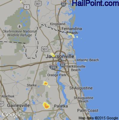 Hail Map for Jacksonville, FL Region on May 17, 2012