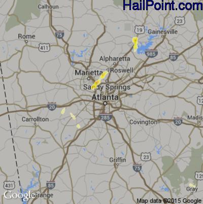 Hail Map for Atlanta, GA Region on May 17, 2012