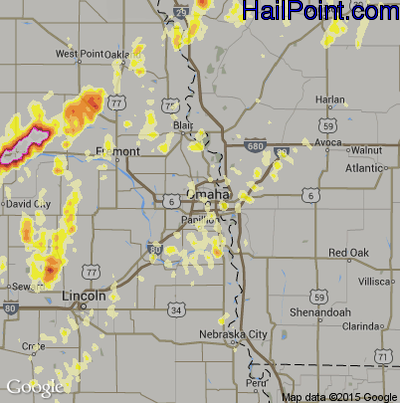 Hail Map for Omaha, NE Region on May 19, 2012