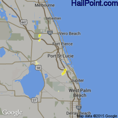 Hail Map for Port St. Lucie, FL Region on May 19, 2012