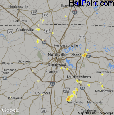 Hail Map for Nashville, TN Region on May 19, 2012