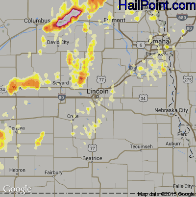 Hail Map for Lincoln, NE Region on May 19, 2012