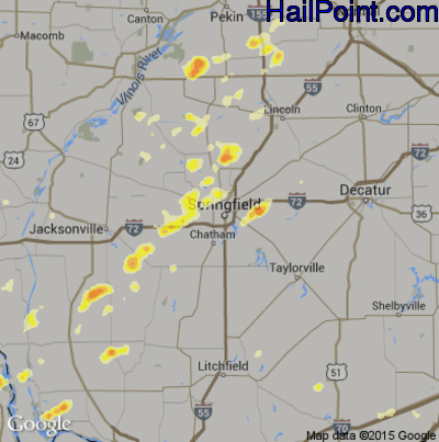 Hail Map for Springfield, IL Region on May 20, 2012