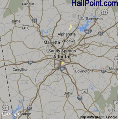 Hail Map for Atlanta, GA Region on May 20, 2012