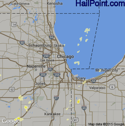 Hail Map for Chicago, IL Region on May 20, 2012