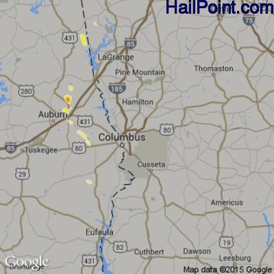 Hail Map for Columbus, GA Region on May 21, 2012