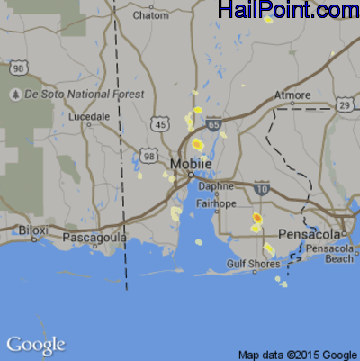 Hail Map for Mobile, AL Region on May 21, 2012