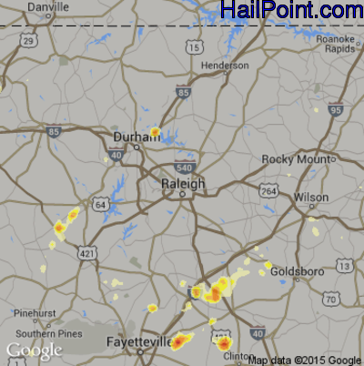 Hail Map for Raleigh, NC Region on May 22, 2012