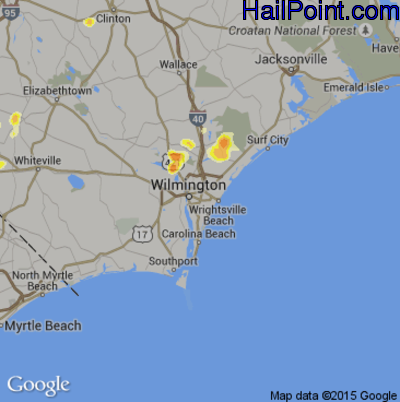 Hail Map for Wilmington, NC Region on May 22, 2012