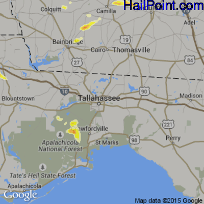 Hail Map for Tallahassee, FL Region on May 22, 2012