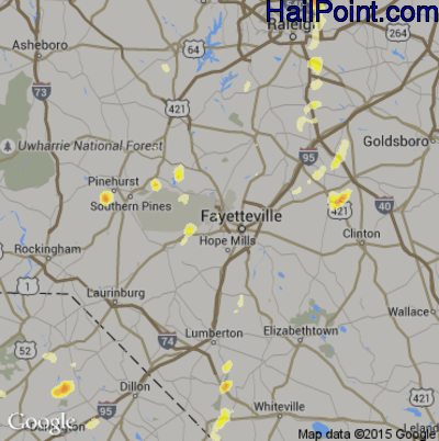 Hail Map for Fayetteville, NC Region on May 23, 2012