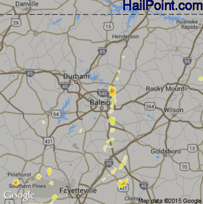 Hail Map for Raleigh, NC Region on May 23, 2012