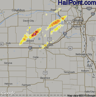 Hail Map for Lincoln, NE Region on May 23, 2012