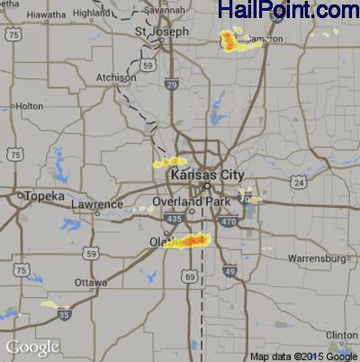 Hail Map for Kansas City, KS Region on May 24, 2012