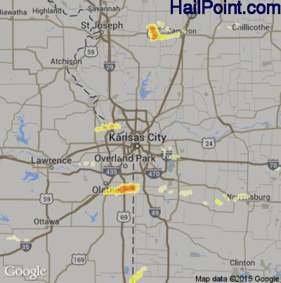 Hail Map for Kansas City, MO Region on May 24, 2012