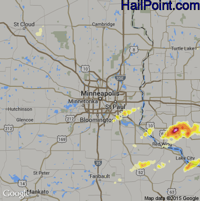 Hail Map for Minneapolis, MN Region on May 26, 2012