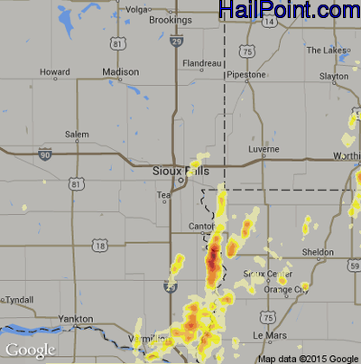 Hail Map for Sioux Falls, SD Region on May 27, 2012
