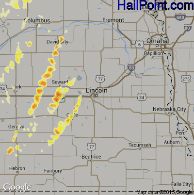 Hail Map for Lincoln, NE Region on May 27, 2012