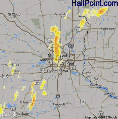 Hail Map for Minneapolis, MN Region on May 28, 2012