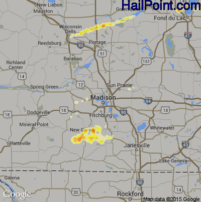 Hail Map for Madison, WI Region on May 28, 2012