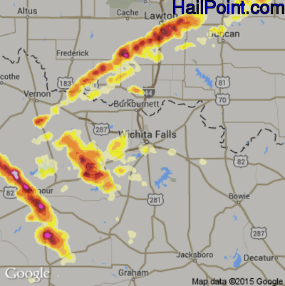 Hail Map for Wichita Falls, TX Region on May 28, 2012