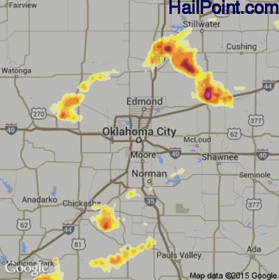Hail Map for Oklahoma City, OK Region on May 29, 2012