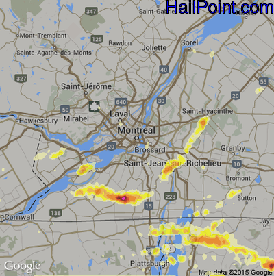 Hail Map for Montreal, Can Region on May 29, 2012