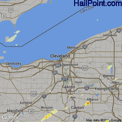 Hail Map for Cleveland, OH Region on May 29, 2012
