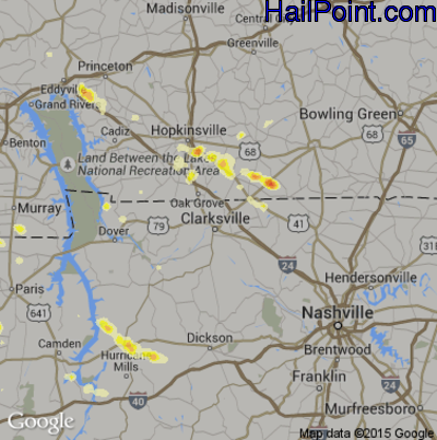 Hail Map for Clarksville, TN Region on May 29, 2012