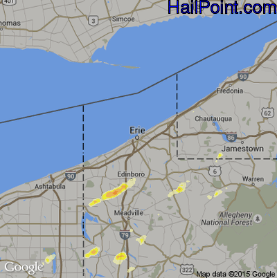 Hail Map for Erie, PA Region on May 29, 2012