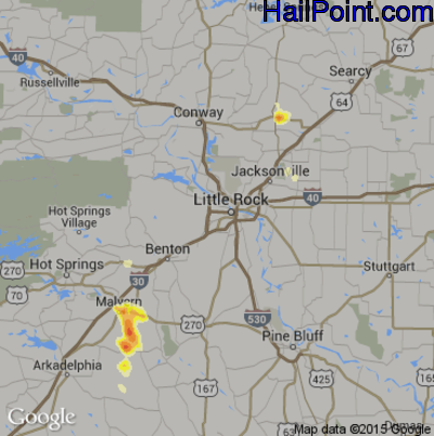 Hail Map for Little Rock, AR Region on May 29, 2012
