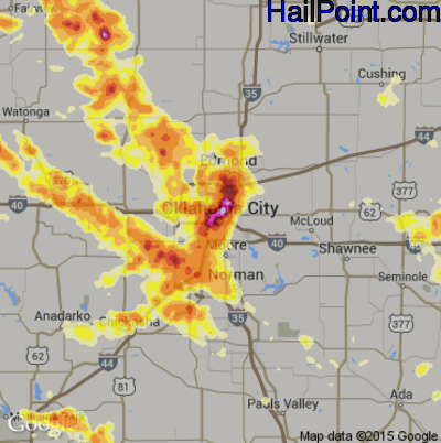 Hail Map for Oklahoma City, OK Region on May 30, 2012