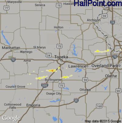 Hail Map for Topeka, KS Region on May 30, 2012