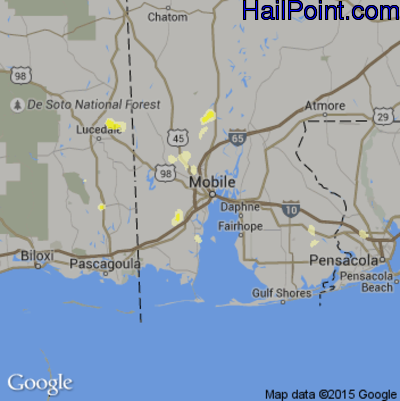 Hail Map for Mobile, AL Region on May 30, 2012