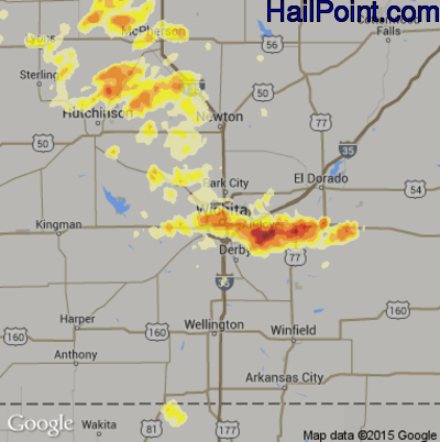 Hail Map for Wichita, KS Region on May 30, 2012