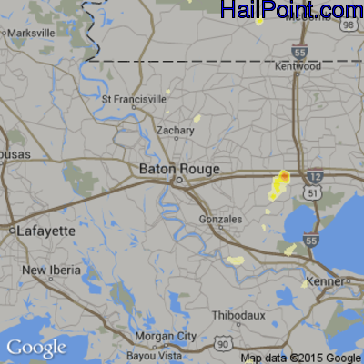 Hail Map for Baton Rouge, LA Region on May 31, 2012