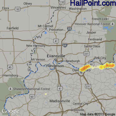 Hail Map for Evansville, IN Region on May 31, 2012