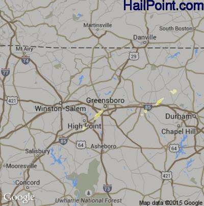 Hail Map for Greensboro, NC Region on June 1, 2012