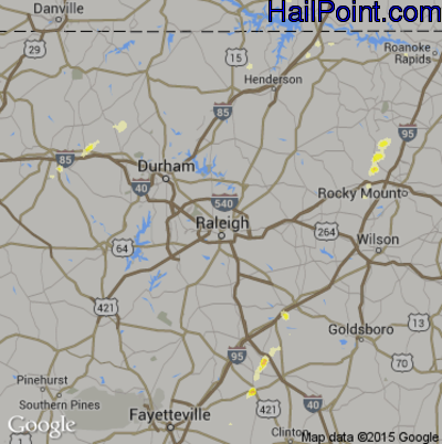 Hail Map for Raleigh, NC Region on June 1, 2012