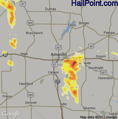 Hail Map for Amarillo, TX Region on June 1, 2012