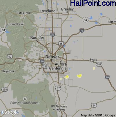 Hail Map for Denver, CO Region on June 2, 2012