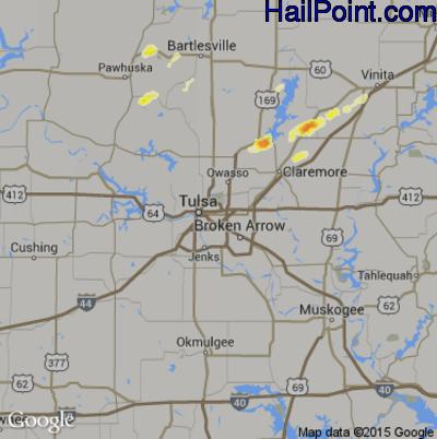Hail Map for Tulsa, OK Region on June 3, 2012