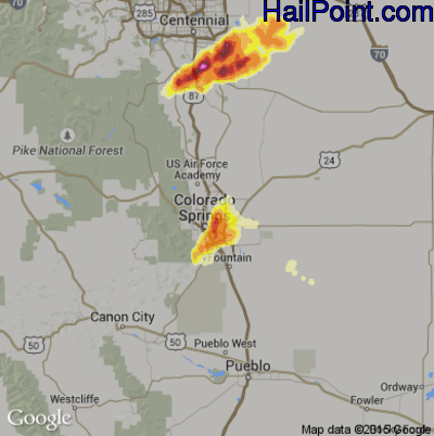 Hail Map for Colorado Springs, CO Region on June 6, 2012