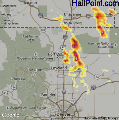 Hail Map for Fort Collins, CO Region on June 8, 2012